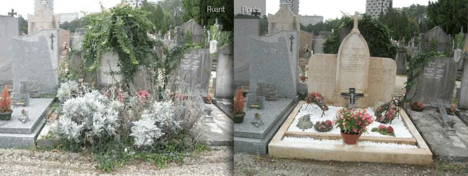 Nettoyage de tombe Avant / Après Bordeaux